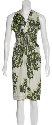 Rozae Nichols Printed Silk Midi Dress