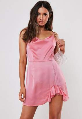 57806c69ee6f Missguided Petite Pink Satin Cowl Neck Mini Dress