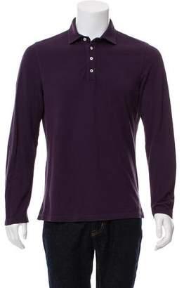Brunello Cucinelli Woven Long Sleeve Polo Shirt
