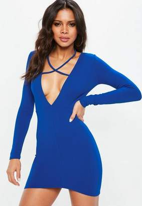 Missguided Blue Tie Neck Plunge Bodycon Dress