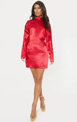 da1a06472c PrettyLittleThing Red Satin High Neck Long Sleeve Ruched Bodycon Dress