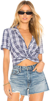 BCBGeneration Knot Front Button Down Top