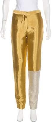 Ellery Mid-Rise Metallic Pants Gold Mid-Rise Metallic Pants