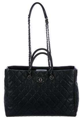Chanel 2017 Lizard-Trimmed Coco Handle Tote