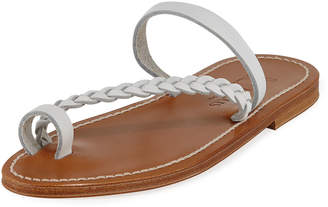 K. Jacques Isaure Braided Leather Flat Sandals