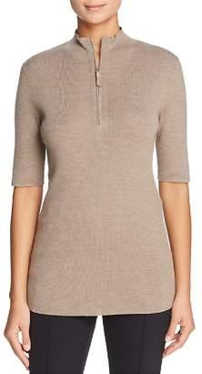 Lafayette 148 New York Ribbed Wool Half Zip Sweater