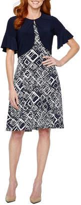 Perceptions Short Bell Sleeve Puff Print Jacket Dress