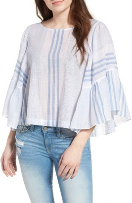 Women's Bp. Stripe Ruffle Swing Top $49 thestylecure.com