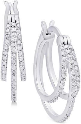 Macy's Diamond Triple Hoop Earrings (1/10 ct. t.w.) in Sterling Silver