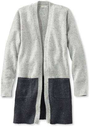 L.L. Bean L.L.Bean Donegal Sweater, Long Open Cardigan Colorblock