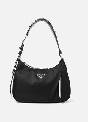 e540bde6c978 Prada Vela Studded Leather-trimmed Shell Shoulder Bag - Black
