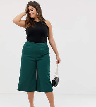 Asos DESIGN Curve wide leg cropped pants in textured jersey crepe