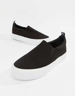 Asos DESIGN slip on plimsolls in black mesh with chunky sole