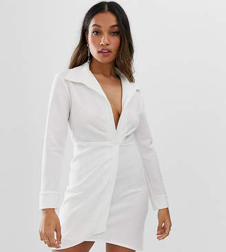 Asos DESIGN petite sexy drape bodycon shirt dress