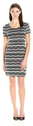 Tiana B Women's Short Sleeve Novelty Stripe Dress