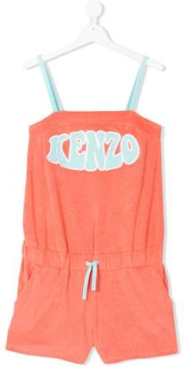 Kenzo TEEN logo embroidered towelling playsuit