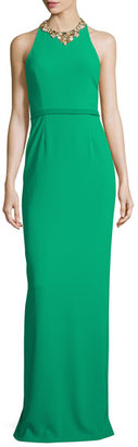 Notte by Marchesa Sleeveless Embellished Halter Column Gown, Emerald $795 thestylecure.com