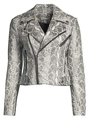 Alice + Olivia Women's Cody Snake-Print Leather Jacket