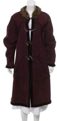 Oscar de la Renta Fur-Trimmed Shearling Coat Purple Fur-Trimmed Shearling Coat