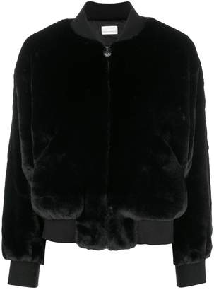 Chiara Ferragni logomania fur bomber jacket