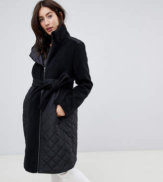 Mama Licious Mama.licious Mamalicious Padded Wool Mix Coat With Zip In Maternity Panel