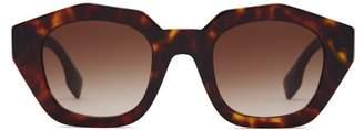 Burberry Angular Oval Tortoiseshell Acetate Sunglasses - Womens - Tortoiseshell