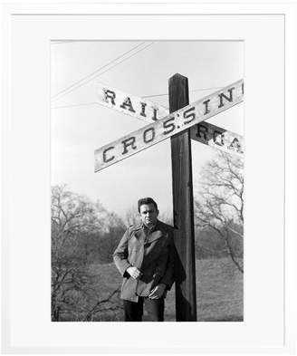 Sonic Editions Johnny Cash and Railroad Crossing Sign by King Rose Archives (Framed)