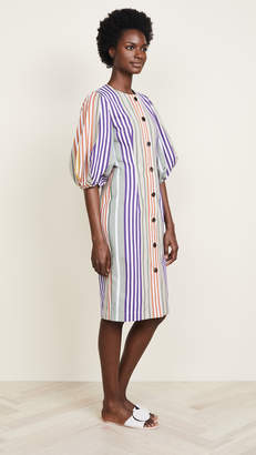 Tata-Naka Tata Naka Button Down Dress with Puff Sleeves