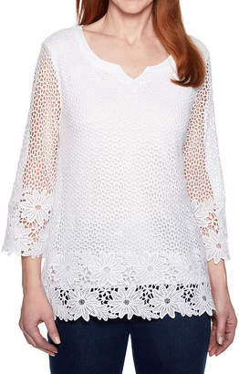 Alfred Dunner Smooth Sailing 3/4 Sleeve Crochet Lace Top
