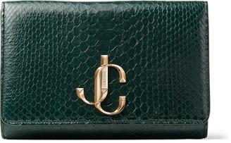 Jimmy Choo VARENNE CLUTCH Dark Green Patent Python Clutch Bag with JC logo