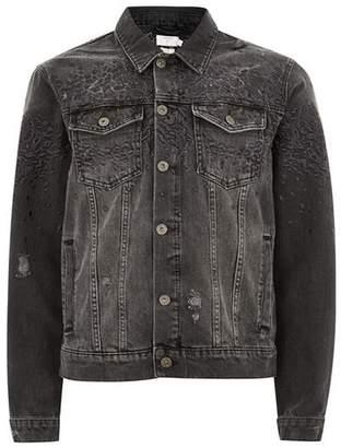 Topman Mens Black Leopard Embroidered Denim Jacket
