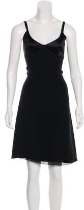 Armani Collezioni Crepe Satin-Trimmed Dress