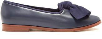 Mansur Gavriel Suede-bow leather loafers