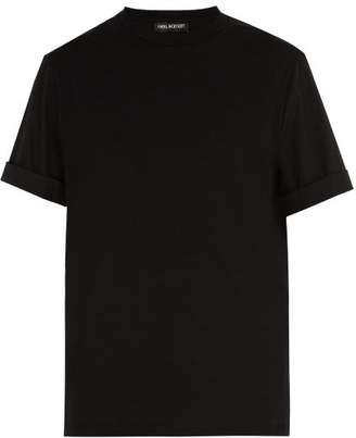 Neil Barrett Poplin Sleeved Crew Neck Cotton Blend T Shirt - Mens - Black