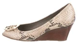 Tory Burch Embossed Round-Toe Wedge Pumps