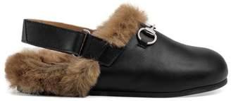 Gucci Children's Horsebit leather slipper with faux fur