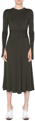 Akris Punto Long-Sleeve Ribbed Merino Midi Dress