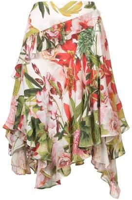 Josie Natori Paradise Floral ruffle skirt