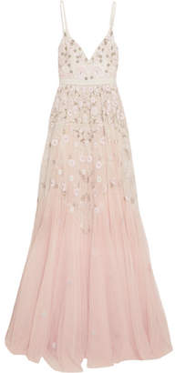 Needle & Thread Embellished Embroidered Tulle Gown - Pastel pink
