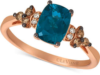 LeVian Le Vian Deep Sea Blue Topaz (1-1/2 ct. t.w.) & Vanilla and Chocolate Diamond (1/6 ct. t.w.) Ring in 14k Rose Gold (Also available in Green Apple® Peridot)