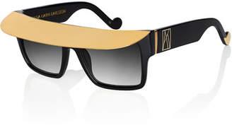 Karlsson Anna-Karin Shady Metal-Brow Square Sunglasses, Black
