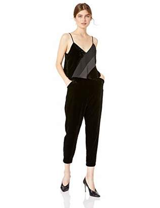 Parker Women's Frida Combo Velvet Adjustable Strap V-Neck Jumpsuit