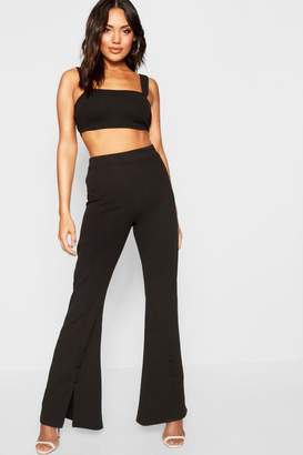 f38a48a9ac boohoo Square Neck Bralet + Button Detail Flare Co-Ord