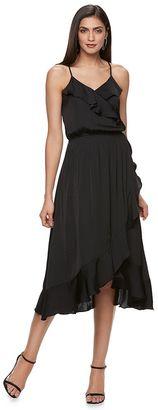 Women's Jennifer Lopez Faux-Wrap Midi Dress $80 thestylecure.com