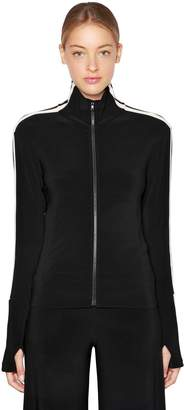 Norma Kamali Side Bands Stretch Jersey Track Jacket