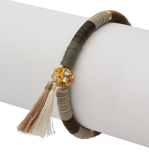 LOFT Stacked Sequin Pave and Tassel Stretch Bracelet