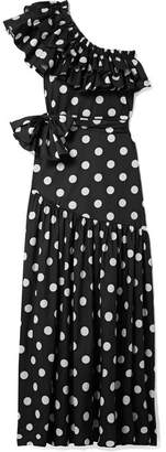 Caroline Constas Rhea One-shoulder Ruffled Polka-dot Cotton-blend Poplin Maxi Dress - Black