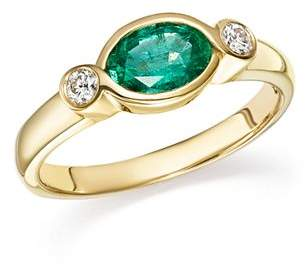 Bloomingdale's Emerald & Diamond Bezel Ring in 14K Yellow Gold - 100% Exclusive