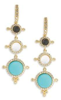 Freida Rothman Classic Nautical Compass Cubic Zirconia & 14K Gold-Plated Sterling Silver Drop Earrings