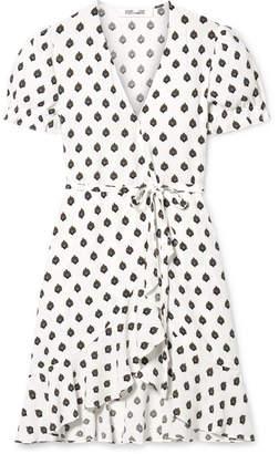 Diane von Furstenberg Emilia Printed Crepe Wrap Mini Dress - White